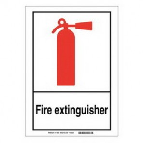 Brady® 119959 Fire Safety Sign, 14 in H x 10 in W, Black/Red on White, Surface Mount, B-401 Plastic