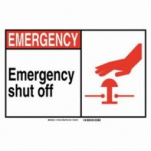 Brady® 120160 Fire Safety Sign, 5 in H x 7 in W, Black/Red on White, Self-Adhesive Mount, B-946 Vinyl
