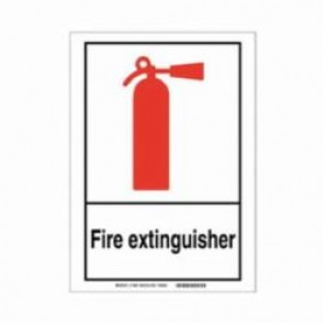 Brady® 120229 Fire Safety Sign, 5 in H x 7 in W, Black/Red on White, Self-Adhesive Mount, B-946 Vinyl