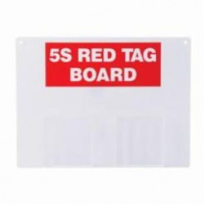 Brady® 122048 Rectangle 5S Red Tag Station, Unfilled, 12 in H x 16 in W, Acrylic, Red on White