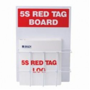 Brady® 122053 Rectangle 5S Red Tag Station, Filled, 20 in H x 14 in W, Polycarbonate, Red on White