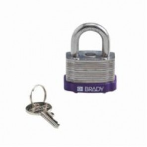 Brady® 123273 Key Retaining Safety Padlock, Keyed Different Key, 17/64 in Shackle, LOTO-11 Reinforced Laminated Steel Body, 5-Pin Cylindrical Locking
