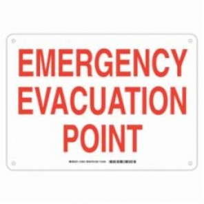 Brady® 123812 Rectangle Exit & Directional Sign, 10 in H x 14 in W, Red on White, Surface Mount, B-555 Aluminum