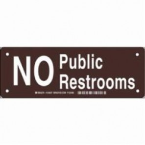Brady® 124639 Rectangle Restroom Sign, 3-1/2 in H x 10 in W, White on Brown, Surface Mount, B-302 Polyester