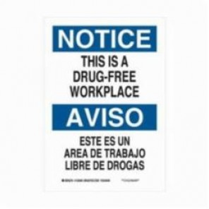 Brady® 125067 Rectangle Safety Sign, 10 in H x 7 in W, Black/Blue on White, Surface Mount, B-555 Aluminum