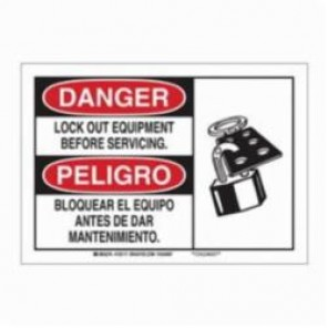 Brady® 125116 Rectangular Danger Sign, 7 in H x 10 in W, Black/Red on White, Surface Mount, B-401 Plastic