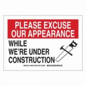 Brady® 126862 Construction Site Sign, 10 in H x 14 in W, Black/Red on White, Surface Mount, B-401 High Impact Polystyrene