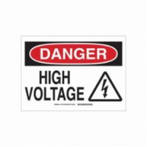 Brady® 131697 Danger Safety Sign, 10 in W x 7 in H, Red/Black on White, B-555 Aluminum, DANGER HIGH VOLTAGE (W/PICTO)