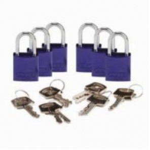 Brady® 133277 Compact Lightweight Safety Padlock, Keyed Different Key, 1/4 in Shackle, Aluminum Body, Purple, 5-Pin Cylindrical Locking