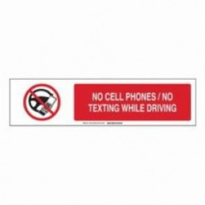 Brady® 140791 Sign Slider Insert, NO CELL PHONES / NO TEXTING WHILE DRIVING, 6 in H x 23-7/8 in W, Black/Red on White