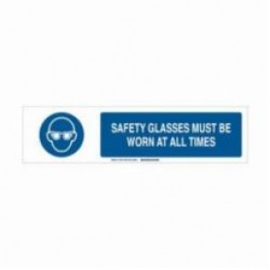 Brady® 140785 Safety Sign Slider Insert, SAFETY GLASSES MUST BE WORN AT ALL TIMES, 6 in H x 23-7/8 in W, Blue on White