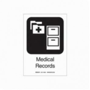 Brady® 142540 Rectangular Hospital Sign, 10 in H x 7 in W, Black on White, Self-Adhesive Mount, B-302 Polyester