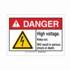 Brady® 144648 Danger Sign, 3-1/2 in H x 5 in W, Black/Red/Yellow on White, Corner Hole Mount, B-302 Polyester