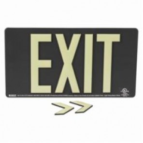 Brady® 145522 BradyGlo™ Exit Sign, 9 in H x 15-3/4 in W, Black, Surface Mount, Composite Aluminum
