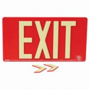 Brady® 145524 BradyGlo™ Exit Sign, 9 in H x 15-3/4 in W, Red, Surface Mount, Composite Aluminum