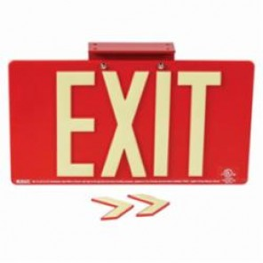 Brady® 145527 BradyGlo™ Exit Sign, 9 in H x 15-3/4 in W, Red, Surface Mount, Composite Aluminum