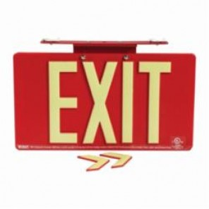 Brady® 145530 BradyGlo™ Exit Sign, 9 in H x 15-3/4 in W, Red, Surface Mount, Composite Aluminum