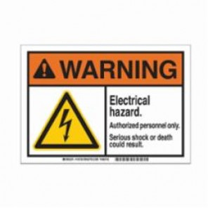 Brady® 145738 ToughWash™ Facility ID Pre-Printed Warning Sign, 10 in W x 7 in H, Black/Orange/Yellow on White, B-869 Encapsulated Plastic, WARNING ELECTRICAL HAZARD AUTHORIZED PERSONNEL ONLY