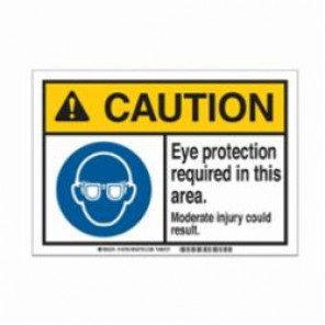 Brady® 145761 Metal Detectable Sign, 10 in H x 14 in W, Black/Blue/Yellow on White, Corner Hole Mount, B-869 Encapsulated Plastic
