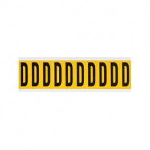 "Brady® 1520-D Standard Letter Label, 5/8 in D"" Character, 3/4 in H x 9/16 in W, Black on Yellow"""