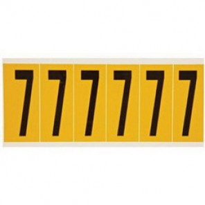 "Brady® 1520-7 Standard Number Label, 5/8 in 7"" Character, 3/4 in H x 9/16 in W, Black on Yellow"""