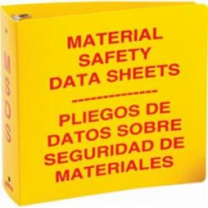 Brady® Prinzing® 2028 Standard MSDS Binder, Material Safety Data Sheets, Bilingual, Red on Yellow, 3 in Ring, 11-5/8 in H