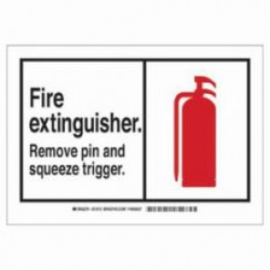 Brady® 83941 Safety Sign, 3-1/2 in H x 5 in W, Red on White, Self-Adhesive Mount, B-302 Polyester