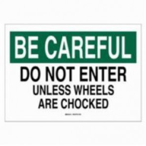 Brady® 22052 Rectangle Traffic Control Sign, 10 in H x 14 in W, Black/Green on White, B-401 Plastic