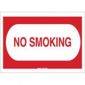 Brady® 25114 No Smoking Sign, 7 in H x 10 in W, Red on White, Surface Mount, B-401 Plastic