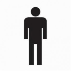 Brady® 88516 Rectangle Restroom Sign, 7 in H x 7 in W, Black on White, Surface Mount, B-302 Polyester