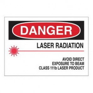 Brady® 70416 Radiation and Laser Sign, 10 in H x 14 in W, Black/Red on White, Surface Mount, B-120 Premium Fiberglass
