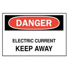 Brady® 25524 Electrical Hazard Sign, 10 in W x 7 in H, DANGER ELECTRIC CURRENT KEEP AWAY, Black/Red on White