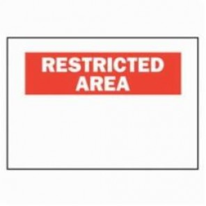 Brady® 80359 Restricted Area/No Trespassing Restricted Area Sign, Black/Red on White