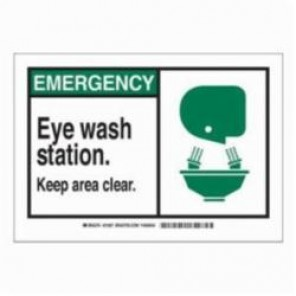Brady® 83935 Laminated Rectangle Safety Sign, 3-1/2 in H x 5 in W, Black/Green on White, Self-Adhesive Mount, B-302 Polyester