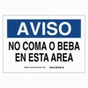 Brady® 38902 Rectangle Spanish Sign, 10 in H x 14 in W, Black/Blue on White, Surface Mount, B-401 Plastic