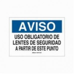 Brady® 39639 Rectangle Spanish Sign, 10 in H x 14 in W, Black/Blue on White, Surface Mount, B-120 Premium Fiberglass