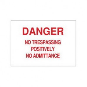 Brady® 40780 Admittance Sign, 10 in H x 14 in W, Red on White, Surface Mount, B-555 Aluminum