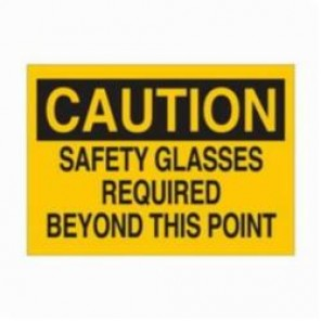 Brady® 74630 Rectangle Eye Protection Sign, 14 in H x 20 in W, Black on Yellow, Surface Mount, B-120 Premium Fiberglass