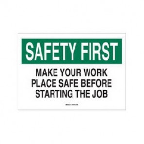 Brady® 42896 Laminated Safety Slogan Sign, 7 in H x 10 in W, Green/Black on White, Surface Mount, B-555 Aluminum