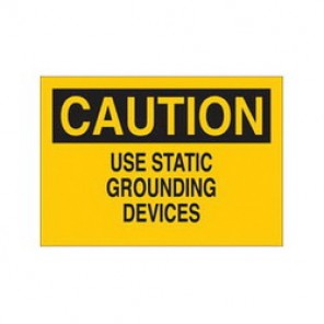 Brady® 43097 Electrical Hazard Sign, 10 in W x 7 in H, CAUTION USE STATIC GROUNDING DEVICES, Black on Yellow