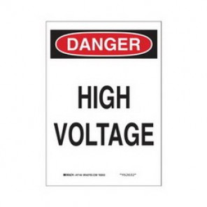Brady® 43112 Electrical Hazard Sign, 10 in W x 14 in H, DANGER HIGH VOLTAGE, Black/Red on White, B-555 Aluminum