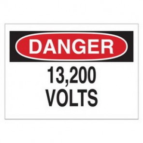 Brady® 43145 Electrical Hazard Sign, 10 in W x 7 in H, DANGER 13,200 Volts, Black/Red on White, B-555 Aluminum
