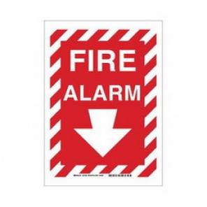 Brady® 43287 Fire Sign, 10 in H x 14 in W, Red on White, Surface Mount, B-555 Aluminum