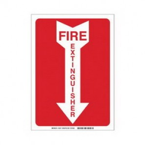 Brady® 43297 Fire Sign, 10 in H x 14 in W, Red on White, Surface Mount, B-555 Aluminum
