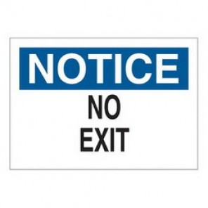 Brady® 43339 Exit & Directional Sign, 10 in H x 14 in W, Black/Blue on White, Surface Mount, B-555 Aluminum