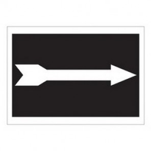 Brady® 43340 Exit & Directional Sign, 7 in H x 10 in W, Black on White, Surface Mount, B-555 Aluminum