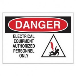 Brady® 43474 Electrical Hazard Sign, 14 in W x 10 in H, DANGER ELECTRICAL EQUIPMENT AUTHORITY PERSONNEL ONLY (W/PICTO)