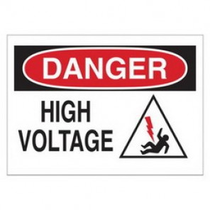 Brady® 43477 Electrical Hazard Sign, 14 in W x 10 in H, DANGER HIGH VOLTAGE (W/PICTO), Black/Red on White