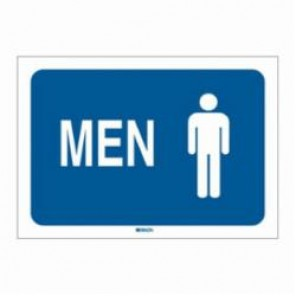 Brady® 47668 Restroom Sign, 10 in H x 7 in W, White on Blue, Surface Mount, B-302 Polyester