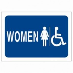 Brady® 47713 High Performance Restroom Sign, 10 in H x 7 in W, Blue on White, B-302 Polyester